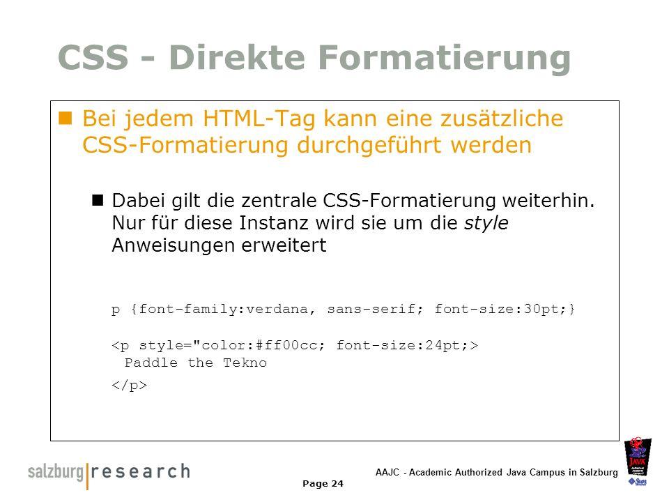 CSS - Direkte Formatierung
