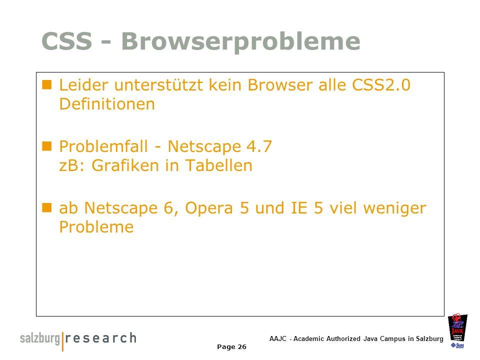 CSS - Browserprobleme Leider unterstützt kein Browser alle CSS2.0 Definitionen. Problemfall - Netscape 4.7 zB: Grafiken in Tabellen.