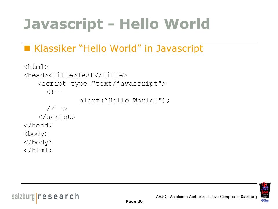 Javascript - Hello World