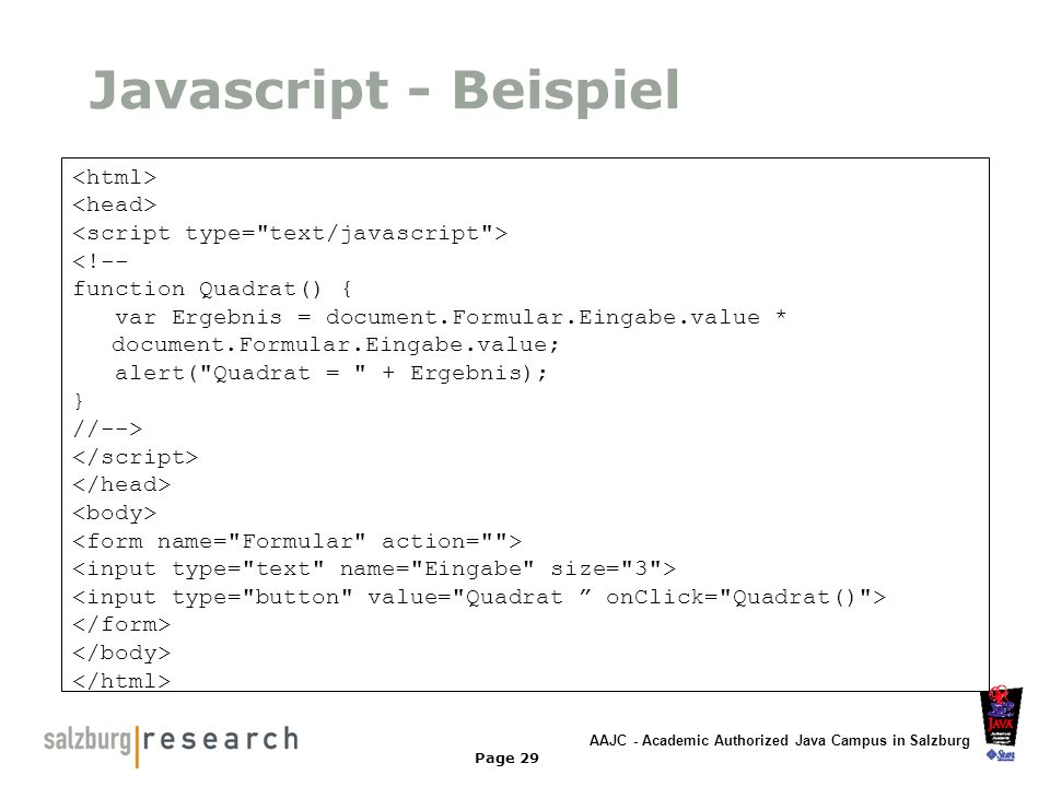 Javascript - Beispiel <html> <head>