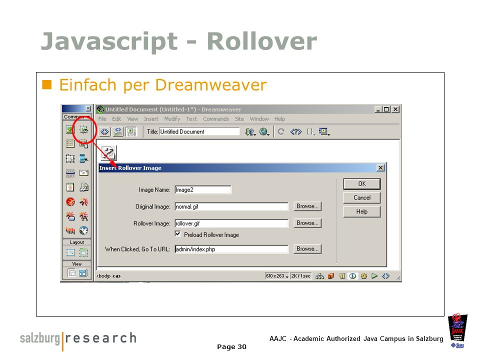 Javascript - Rollover Einfach per Dreamweaver