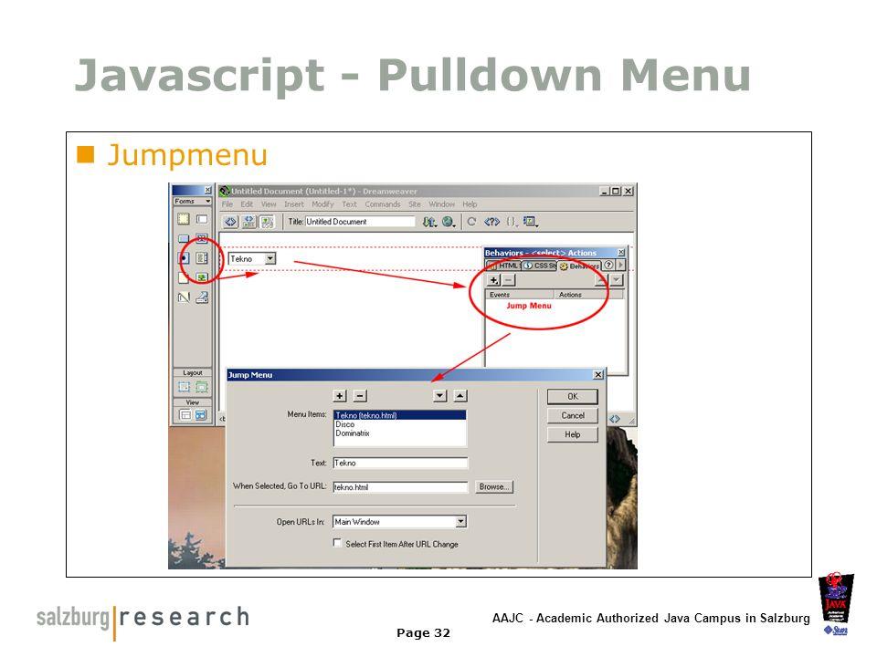 Javascript - Pulldown Menu