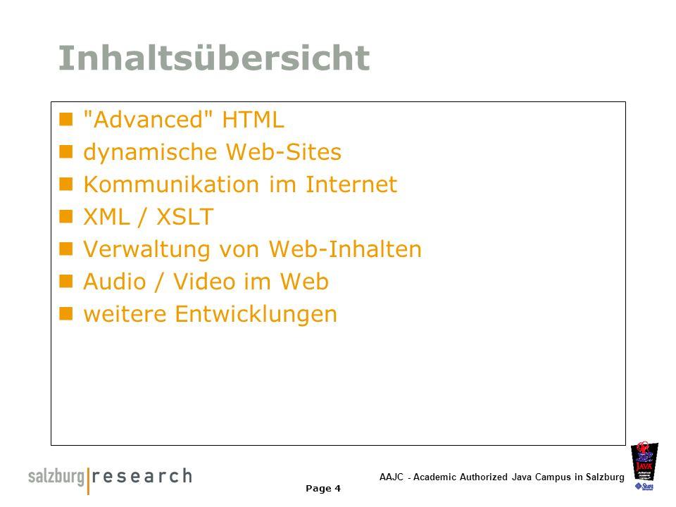 Inhaltsübersicht Advanced HTML dynamische Web-Sites