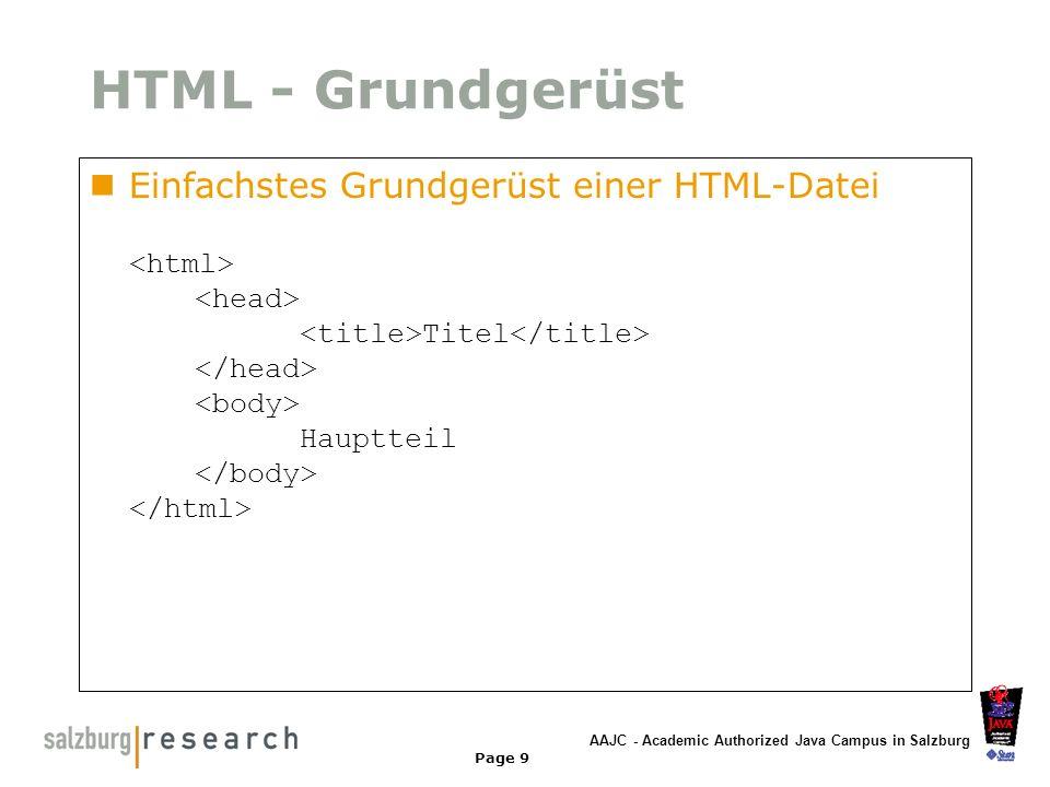 HTML - Grundgerüst Einfachstes Grundgerüst einer HTML-Datei <html> <head> <title>Titel</title> </head> <body> Hauptteil </body> </html>