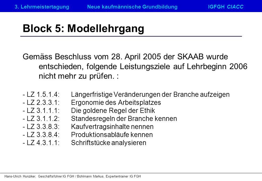 Block 5: Modellehrgang
