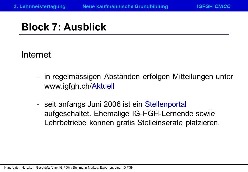 Block 7: Ausblick Internet