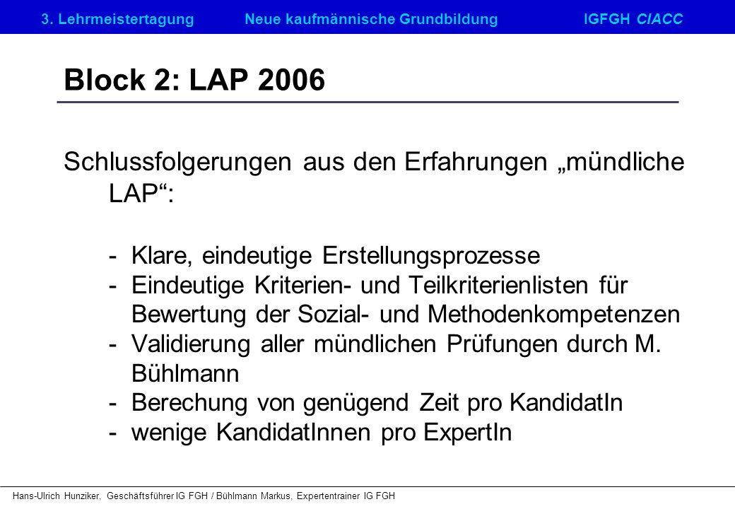 """Block 2: LAP 2006 Schlussfolgerungen aus den Erfahrungen """"mündliche LAP : - Klare, eindeutige Erstellungsprozesse."""