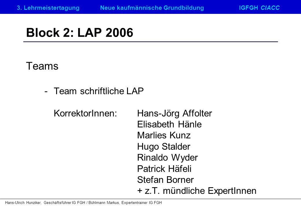 Block 2: LAP 2006 Teams - Team schriftliche LAP