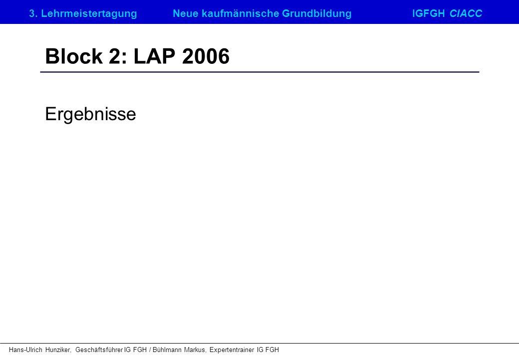 Block 2: LAP 2006 Ergebnisse
