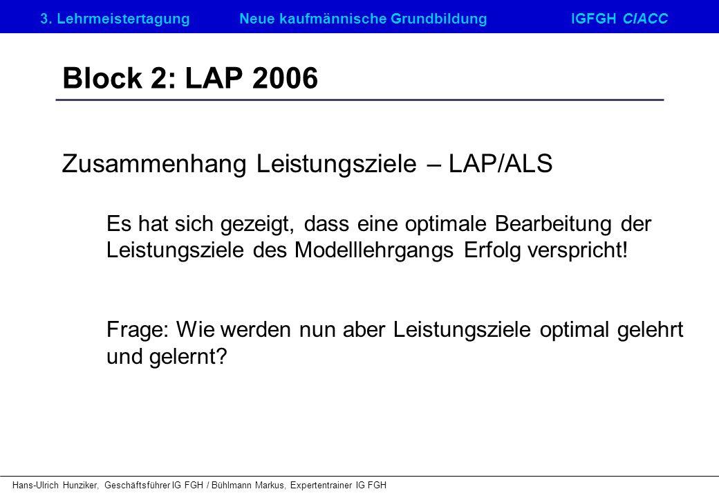 Block 2: LAP 2006 Zusammenhang Leistungsziele – LAP/ALS