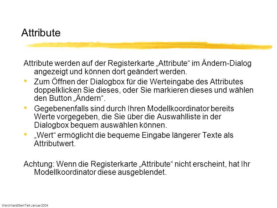 """Attribute Attribute werden auf der Registerkarte """"Attribute im Ändern-Dialog angezeigt und können dort geändert werden."""