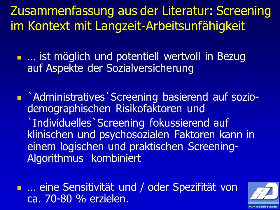 Zusammenfassung aus der Literatur: Screening im Kontext mit Langzeit-Arbeitsunfähigkeit