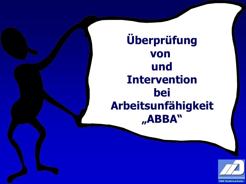 """Überprüfung von und Intervention bei Arbeitsunfähigkeit """"ABBA"""