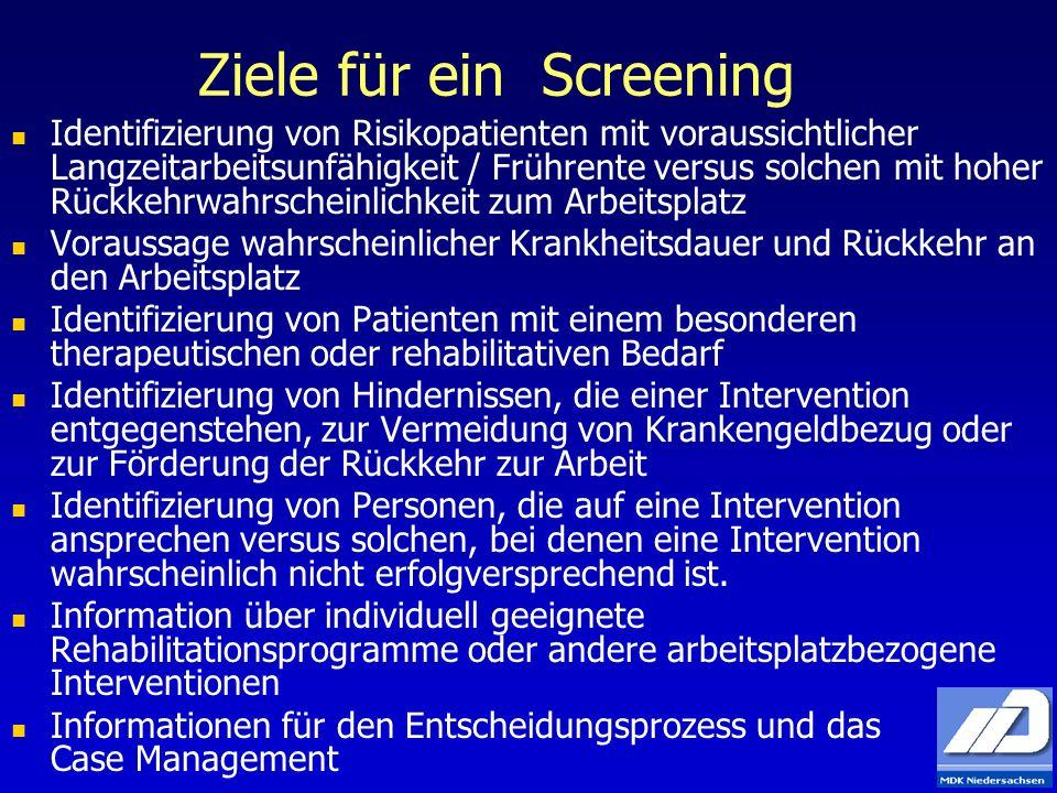 Ziele für ein Screening