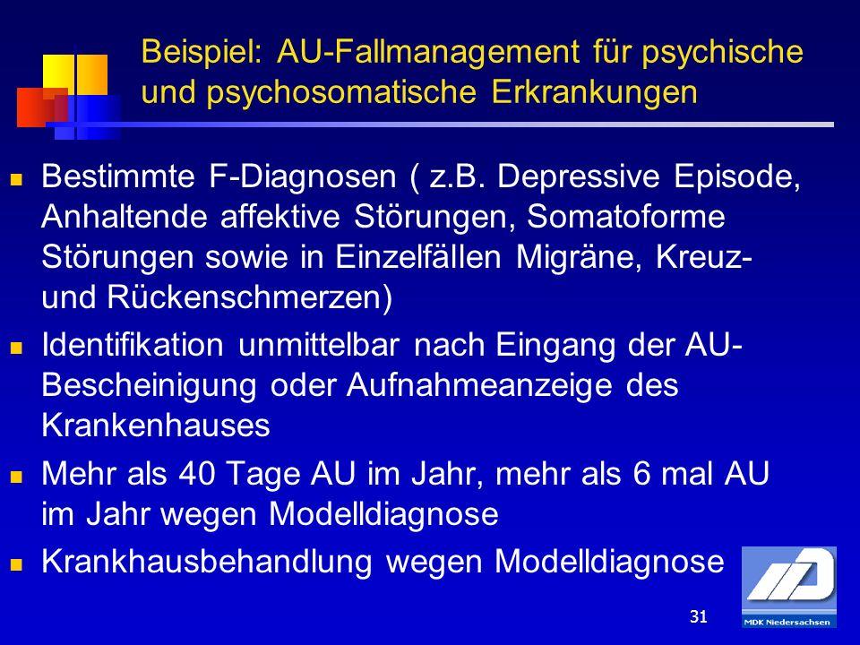 Beispiel: AU-Fallmanagement für psychische und psychosomatische Erkrankungen