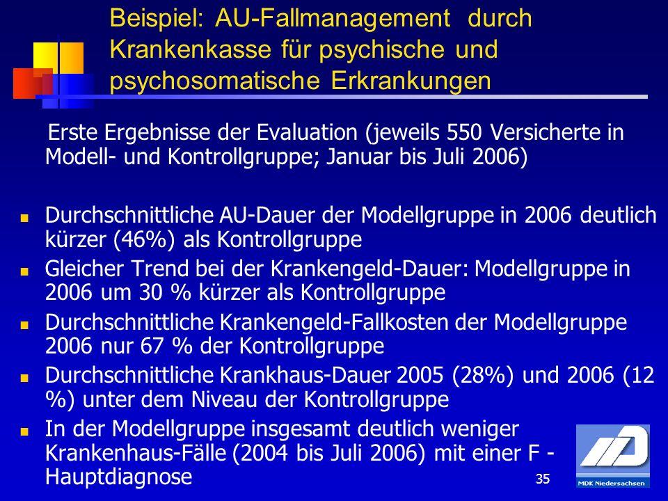 Beispiel: AU-Fallmanagement durch Krankenkasse für psychische und psychosomatische Erkrankungen