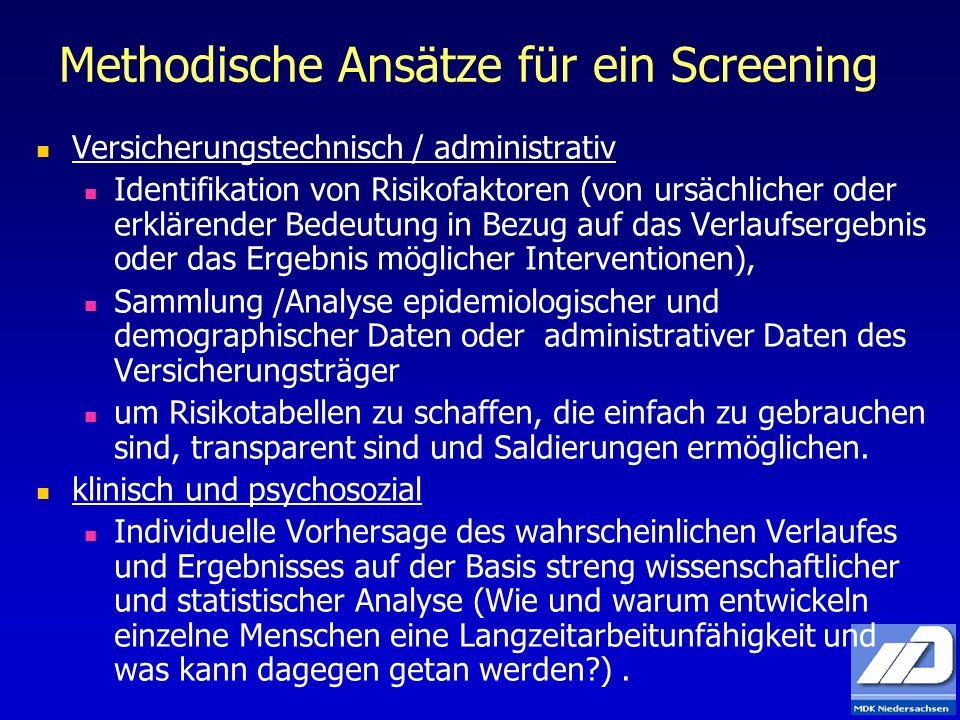 Methodische Ansätze für ein Screening