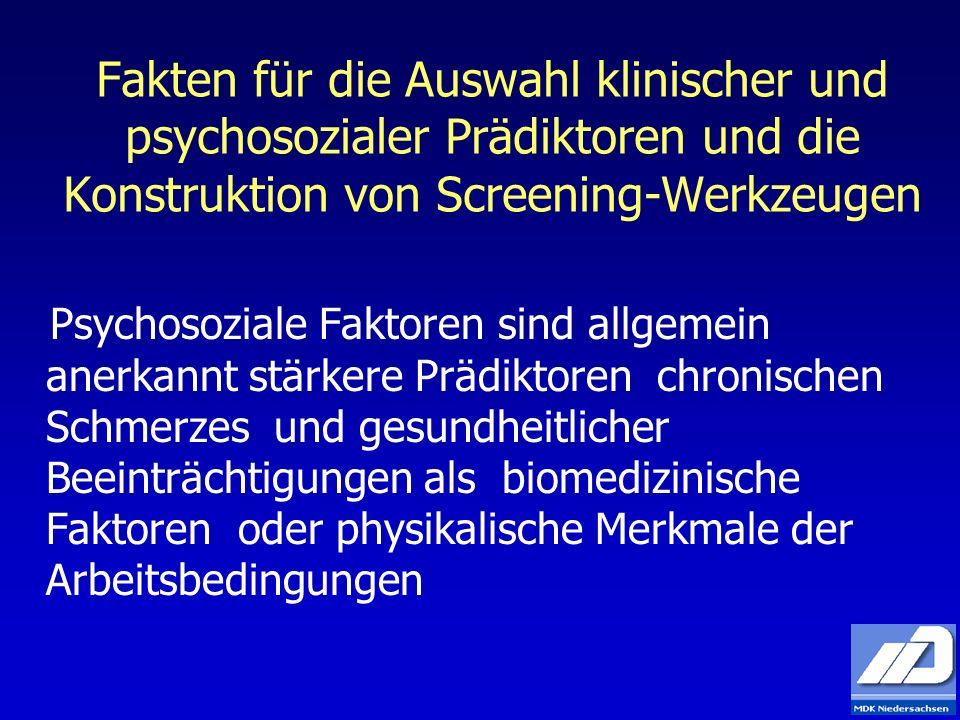 Fakten für die Auswahl klinischer und psychosozialer Prädiktoren und die Konstruktion von Screening-Werkzeugen