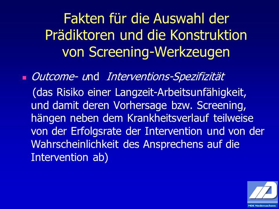Fakten für die Auswahl der Prädiktoren und die Konstruktion von Screening-Werkzeugen