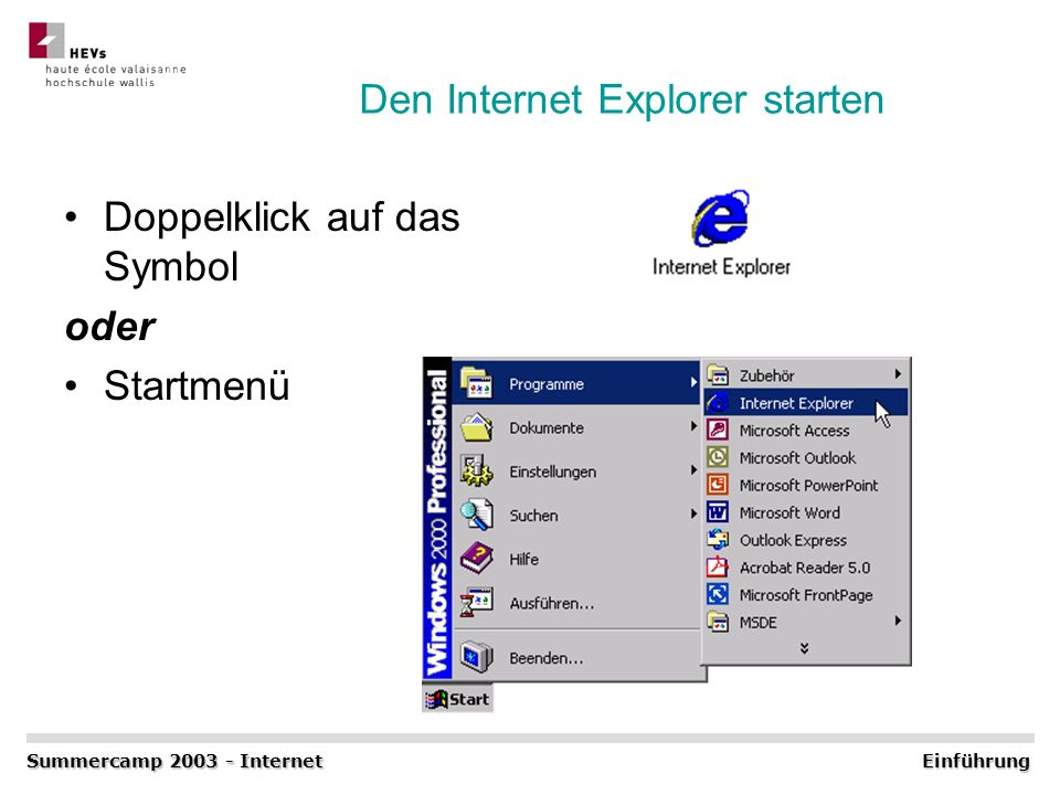 Den Internet Explorer starten