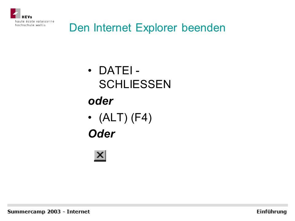 Den Internet Explorer beenden