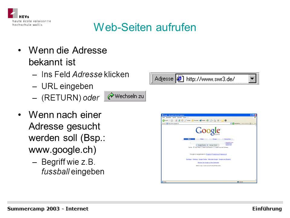 Web-Seiten aufrufen Wenn die Adresse bekannt ist