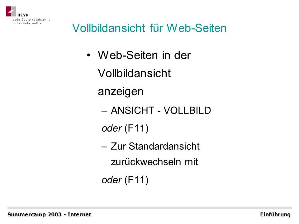 Vollbildansicht für Web-Seiten