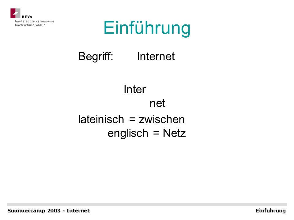 Einführung Begriff: Internet Inter net