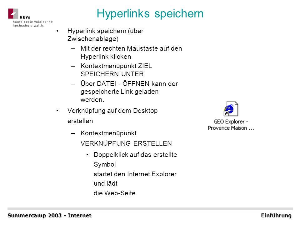 Hyperlinks speichern Hyperlink speichern (über Zwischenablage)