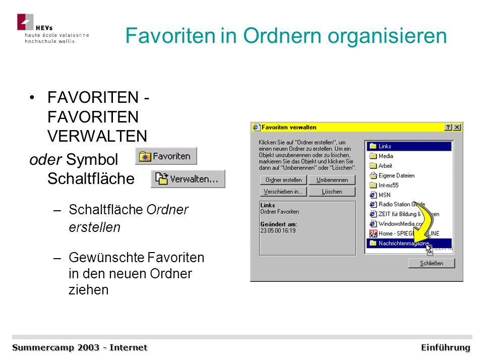 Favoriten in Ordnern organisieren