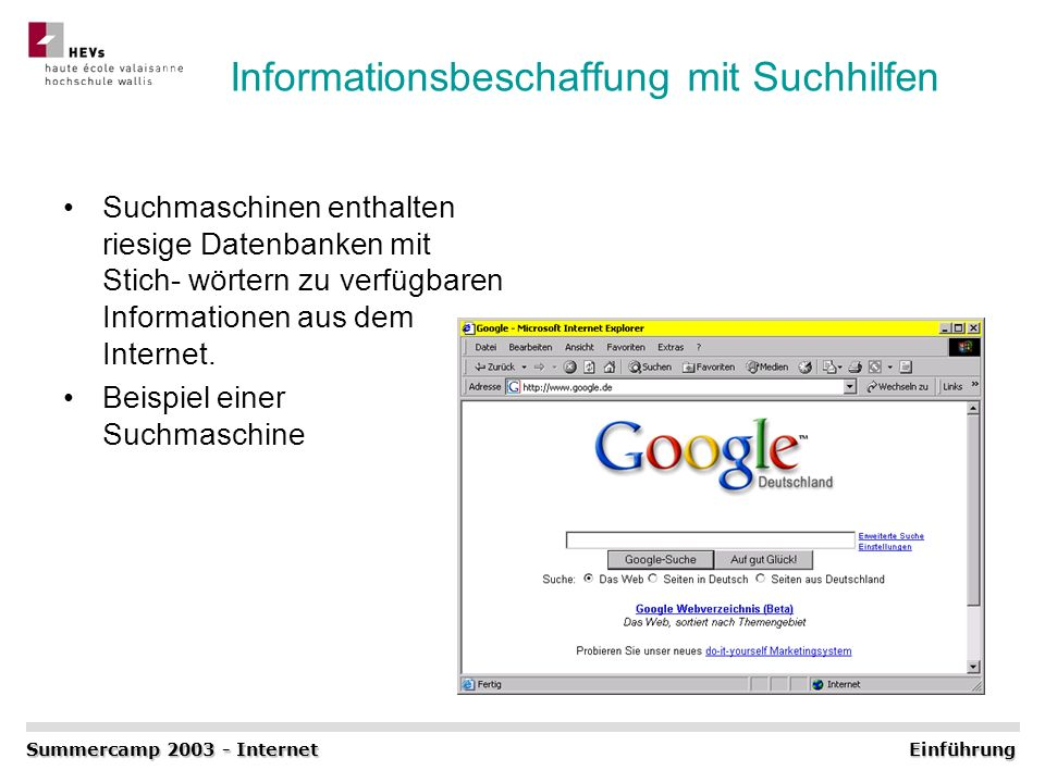 Informationsbeschaffung mit Suchhilfen