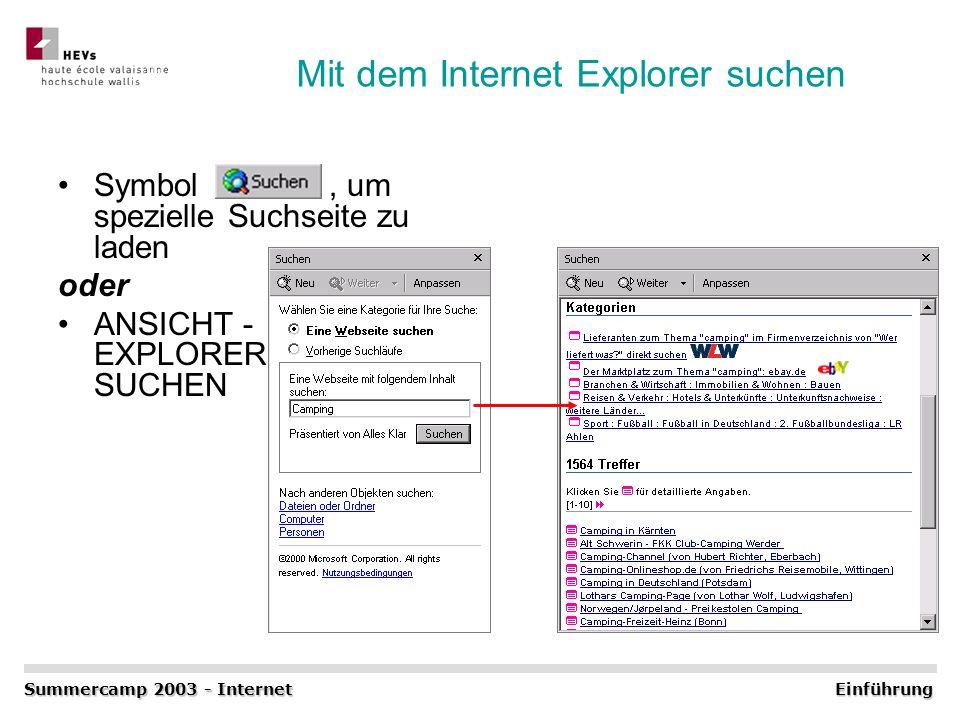 Mit dem Internet Explorer suchen