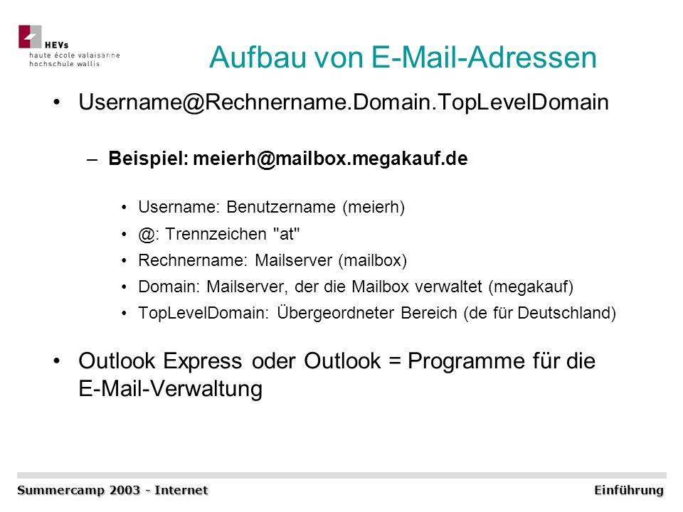 Aufbau von E-Mail-Adressen