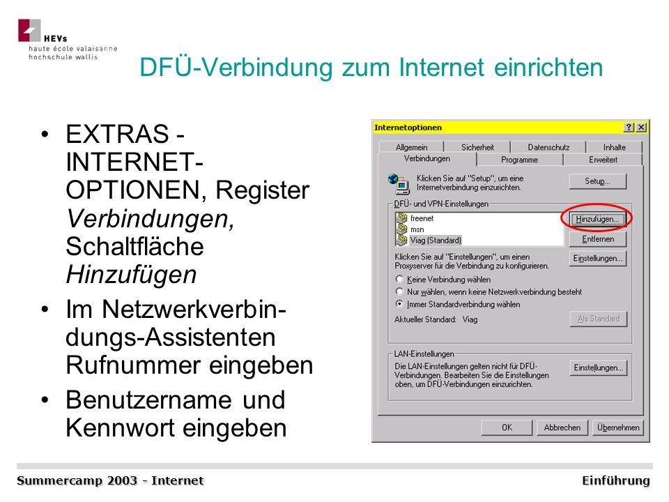 DFÜ-Verbindung zum Internet einrichten