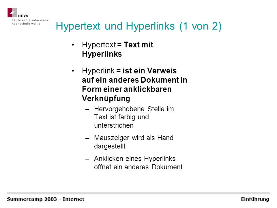Hypertext und Hyperlinks (1 von 2)