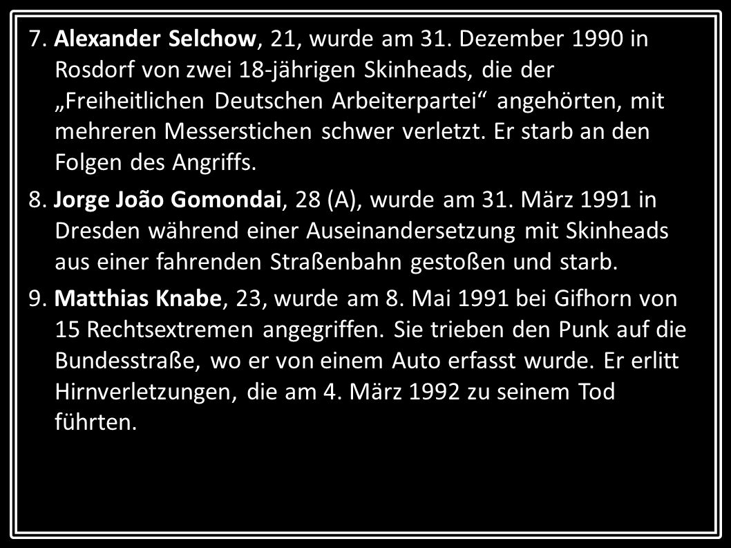7. Alexander Selchow, 21, wurde am 31
