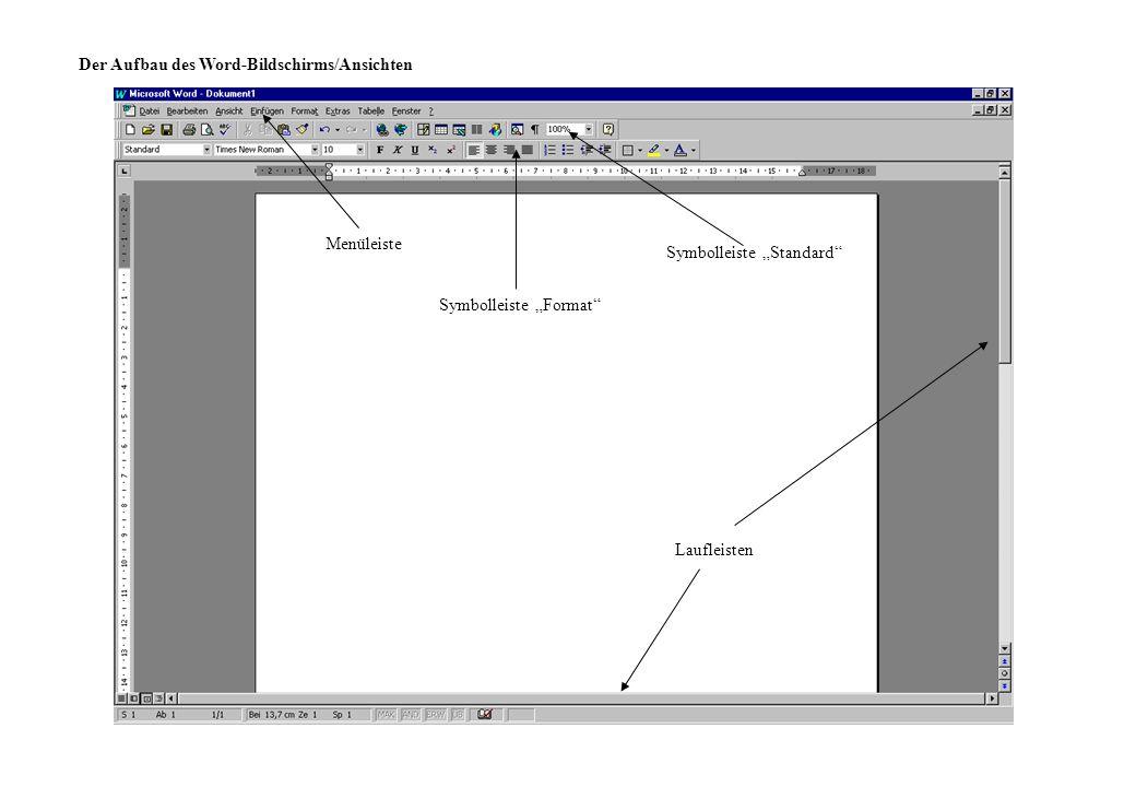 Der Aufbau des Word-Bildschirms/Ansichten