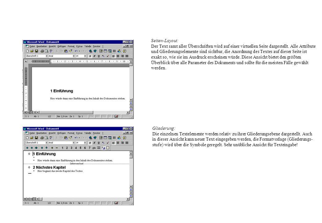 Seiten-Layout: Der Text samt aller Überschriften wird auf einer virtuellen Seite dargestellt. Alle Attribute.