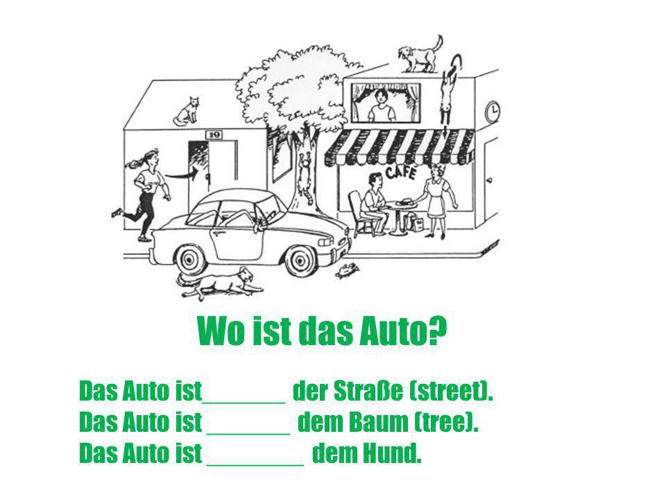 Wo ist das Auto Das Auto ist______ der Straße (street).