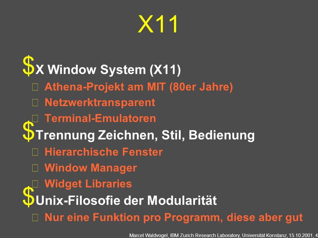X11 X Window System (X11) Trennung Zeichnen, Stil, Bedienung