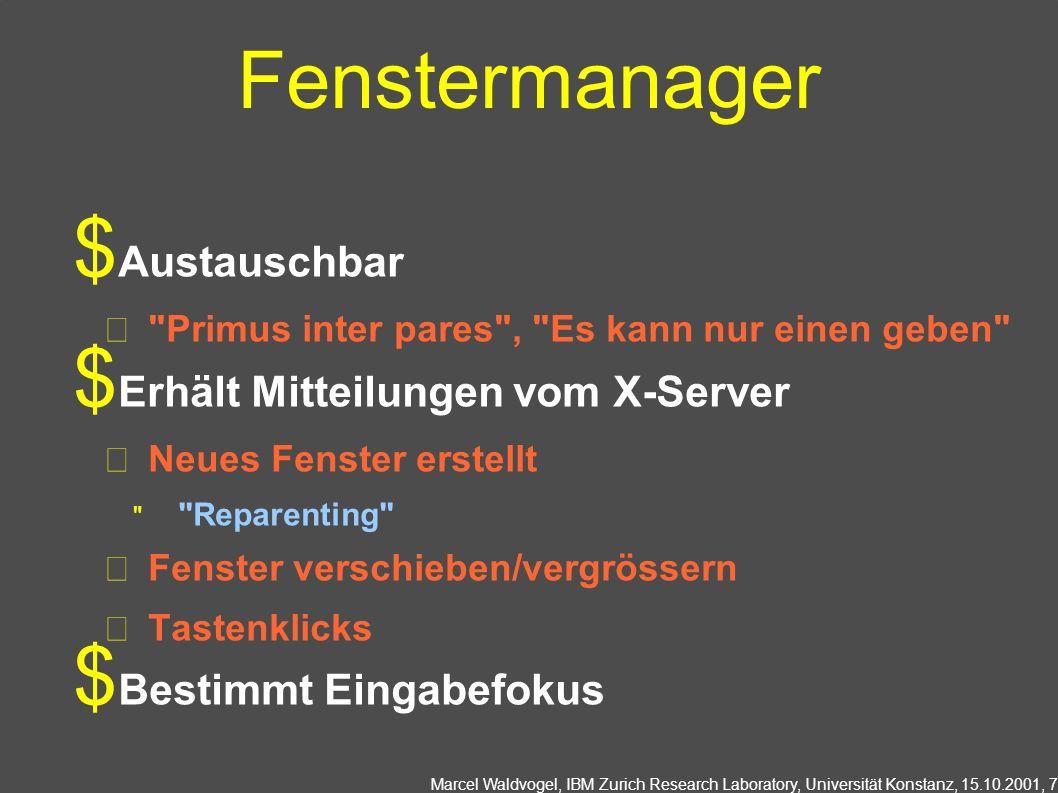 Fenstermanager Austauschbar Erhält Mitteilungen vom X-Server