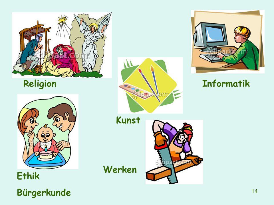 Religion Informatik Kunst Werken Ethik Bürgerkunde