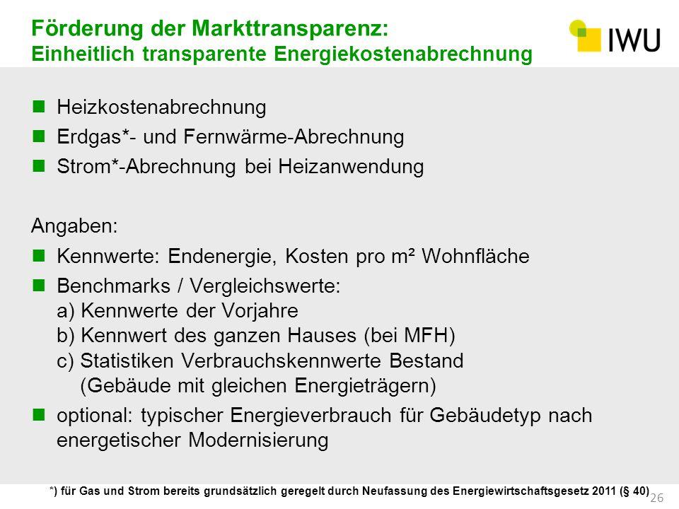 Förderung der Markttransparenz: Einheitlich transparente Energiekostenabrechnung