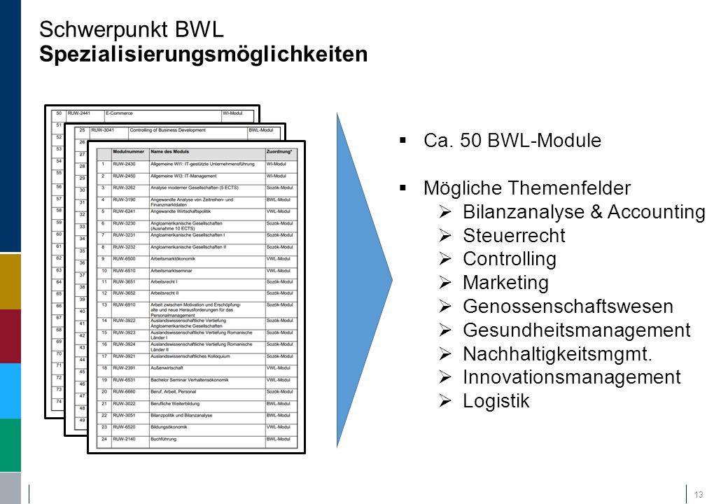 Schwerpunkt BWL Spezialisierungsmöglichkeiten