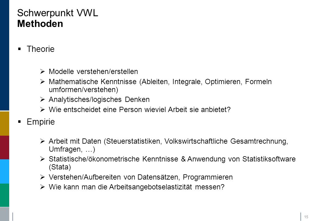 Schwerpunkt VWL Methoden