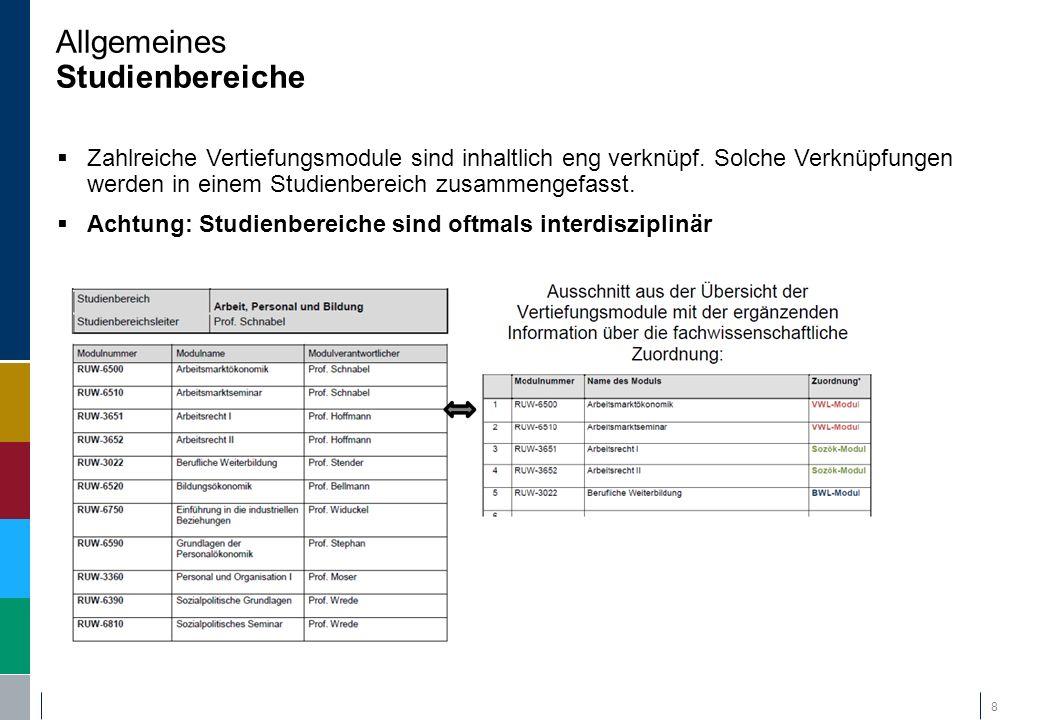 Allgemeines Studienbereiche