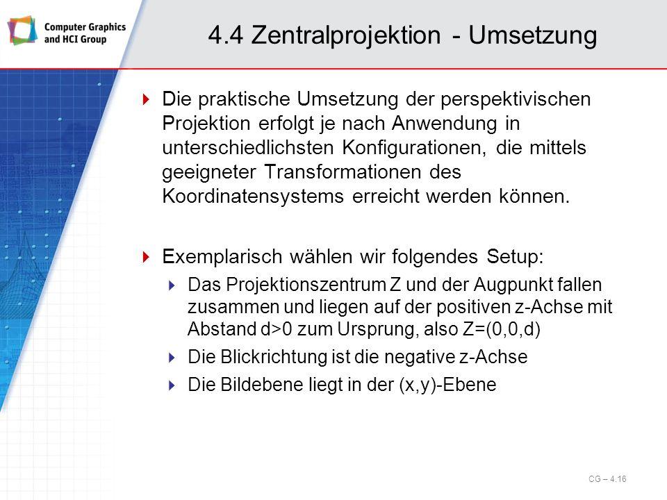 4.4 Zentralprojektion - Umsetzung