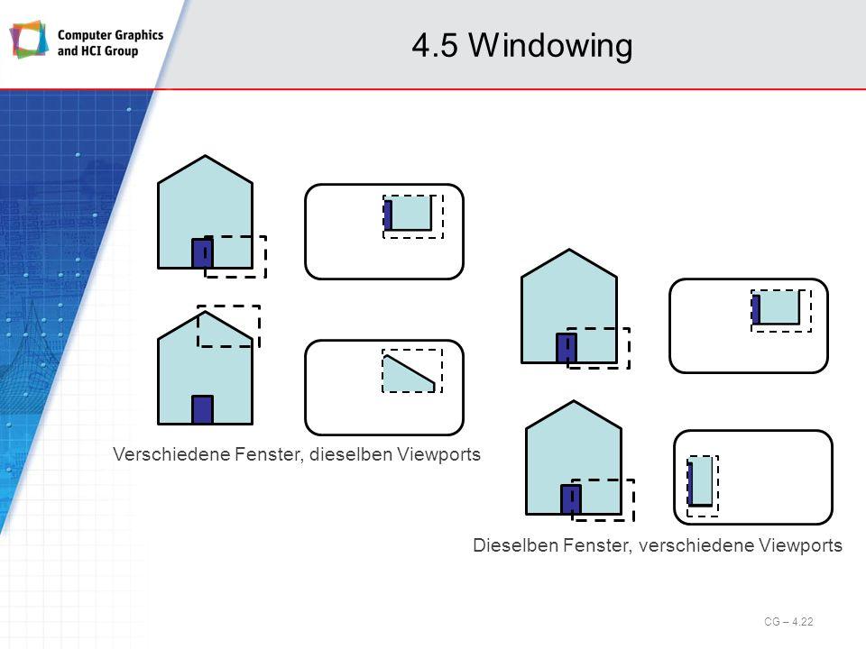 4.5 Windowing Verschiedene Fenster, dieselben Viewports