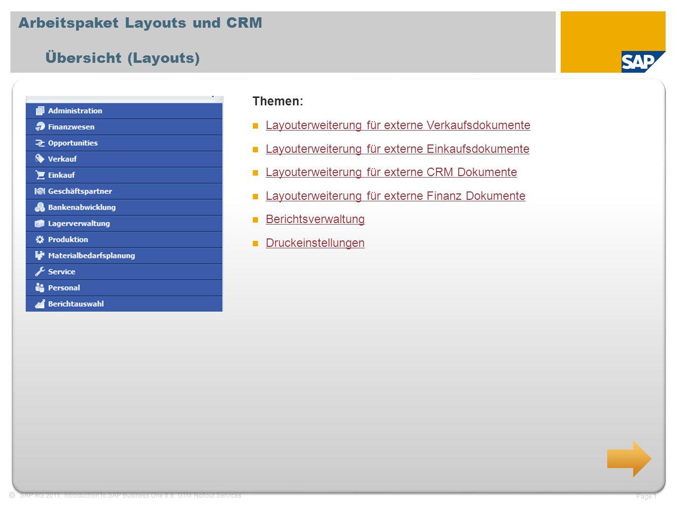 Arbeitspaket Layouts und CRM Übersicht (Layouts)