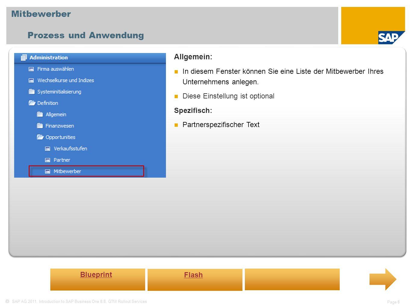 Mitbewerber Prozess und Anwendung Allgemein: